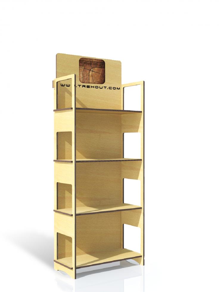 Meuble bois display de sol permanent meuble tag res plv - Meuble etagere bois ...
