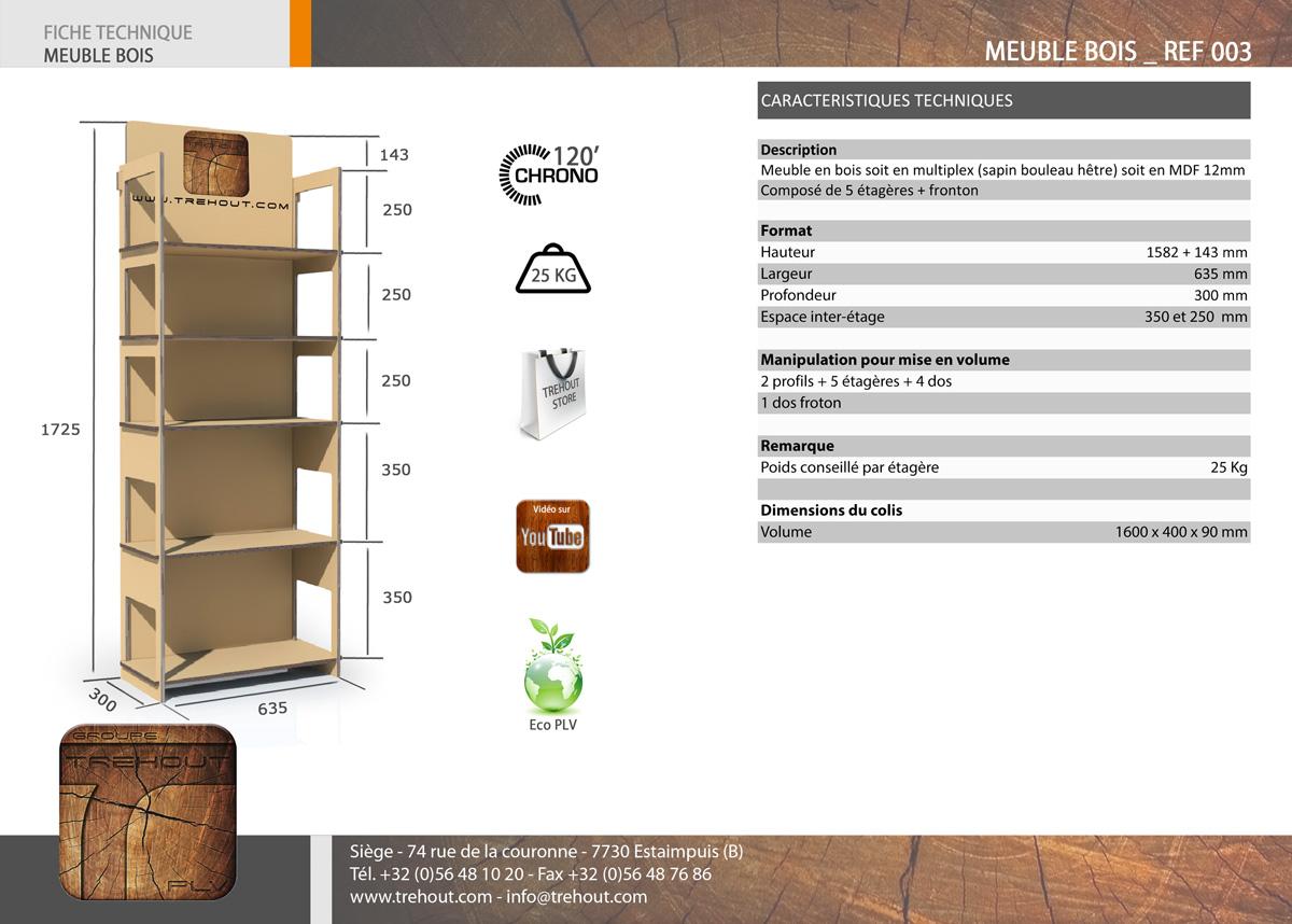 meuble bois display de sol permanent meuble tag res plv plv bois. Black Bedroom Furniture Sets. Home Design Ideas